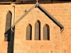 Clairvaux west facade stain glass windows in morning light (2)