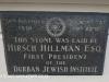 DURBAN - Jewish Club foundation stone Hirsch Hillman 1930