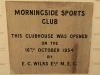 Morningside Sports Club - Club Foundation Stone - 1954 - by EC Wilks MEC