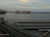 Durban Harbour at dawn passenger and container terminus .