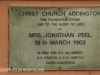Durban  Christ Church Addington Plaque Foundatio Mrs Peel 1902