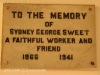 Durban  Christ Church Addington Plaque Sidney Sweet 1941