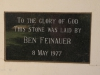 Greytown - Methodist Church - Pine Street - Hall Plaque - Ben Feinauer 1977