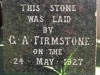 The Valley Inn Hotel - Foundation Stone laid by GA Firmstone - 1927