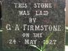 The Valley Inn Hotel - Foundation Stone laid by GA Firmstone - 1927