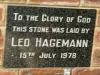 Bethany Farm Chapel - Foundation Stone - Leo Hagemann - 1978