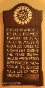 DURBAN - Jewish Club plaque WWII use of premises