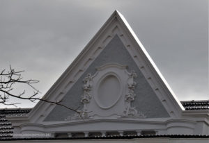 Ornate gable on Hollis House